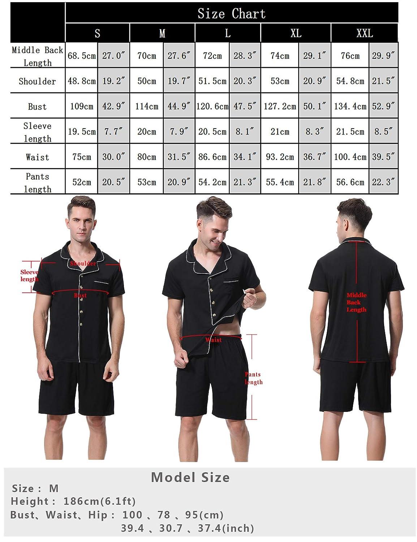 Abollria Herren Schlafanzug Pyjama Kurz Baumwolle Nachtw/äsche Baumwolle Schlafanz/üge Anzug Hausanzug Zweiteiliger mit Shorty Top /& Shorts mit f/ür Sommer
