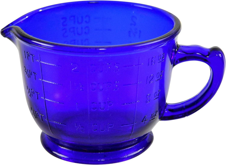 """HOME-X Cobalt-Blue Measuring Cup, Vintage Kitchen Accessories (16oz) 6"""" L x 4 3/4"""" W x 3 1/2"""" H"""