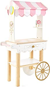 Le Toy Van - Educational Wooden Toy Role Play Tea & Treats Trolley | Girls Pretend Play Tea and Cakes Wooden Play Food Trolley (TV324)