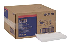 "Tork 192191 Odor Resistant Foodservice Cleaning Towel, 1/4 Fold, 13"" Width x 24"" Length, White/Red Stripe (Case of 1 Box, 150 Cloths per Box)"