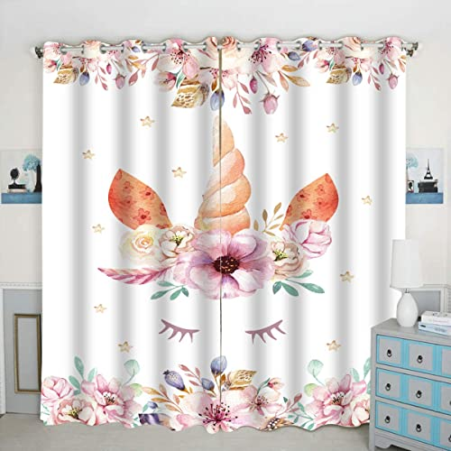 QH Princess Unicorn Window Curtain Panels Blackout Curtain Panels Thermal Insulated Light Blocking 42W x 84L inch Set of 2 Panel