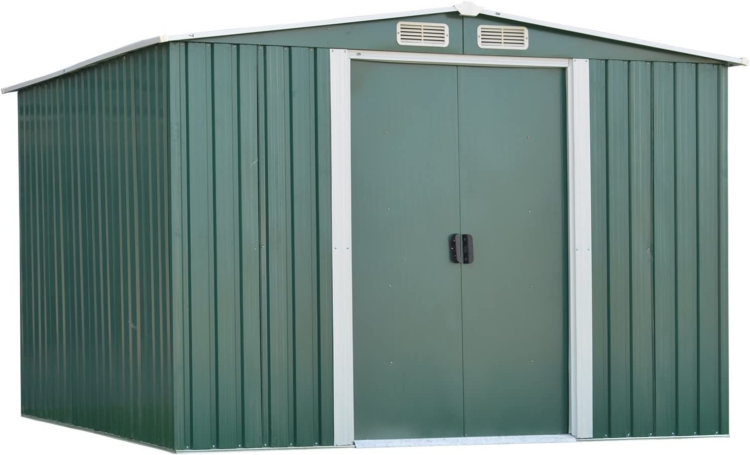 10FT X 8FT Storage Shed, Utility Steel Toolshed Storage Kit for Outdoor Garden Backyard Green