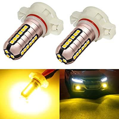 Phinlion 5202 Yellow LED Fog Light Bulbs 3000 Lumens Super Bright 3030 27-SMD 5201 PS19W PS24W 12086 LED Bulb Replacement for DRL Lights or Fog Lamps, Golden Yellow: Automotive