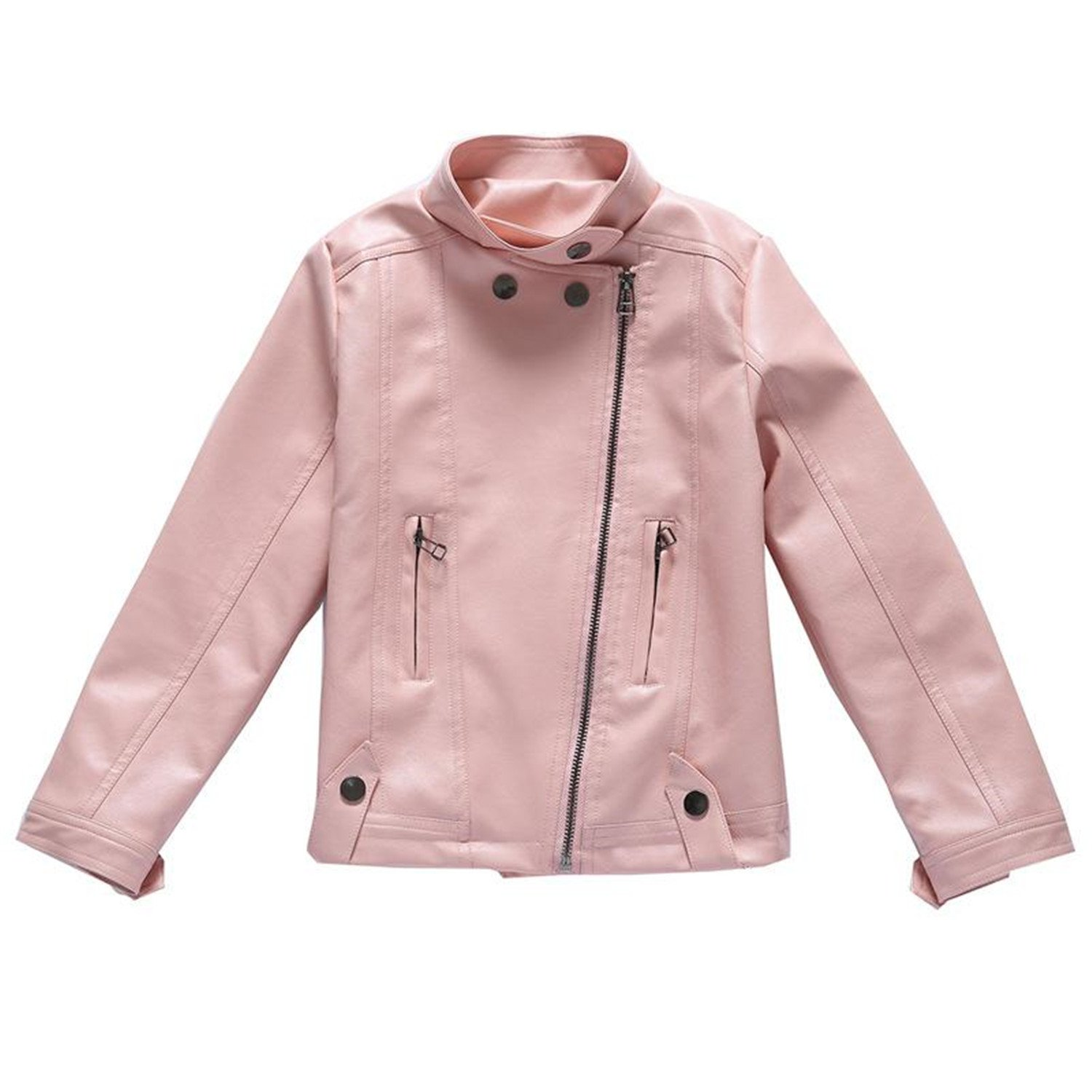 Daerwen Fashion PU Leather Jackets for Girls New New Autumn Spring Kids Coat 4 5 6 7 8 9 10 11 12 13 14 Years Childrens Outerwear Pink 10T fashion