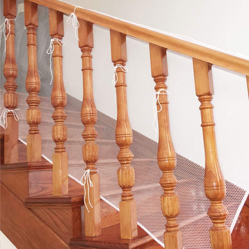 Red de Seguridad Malla para Protección Infantil a Niños y Bebés, para Fijar en Barandillas de Escaleras Patios y Balcones, Resistente y Facil de Instalar (3 X 0.77M / Blanca) Leegoal