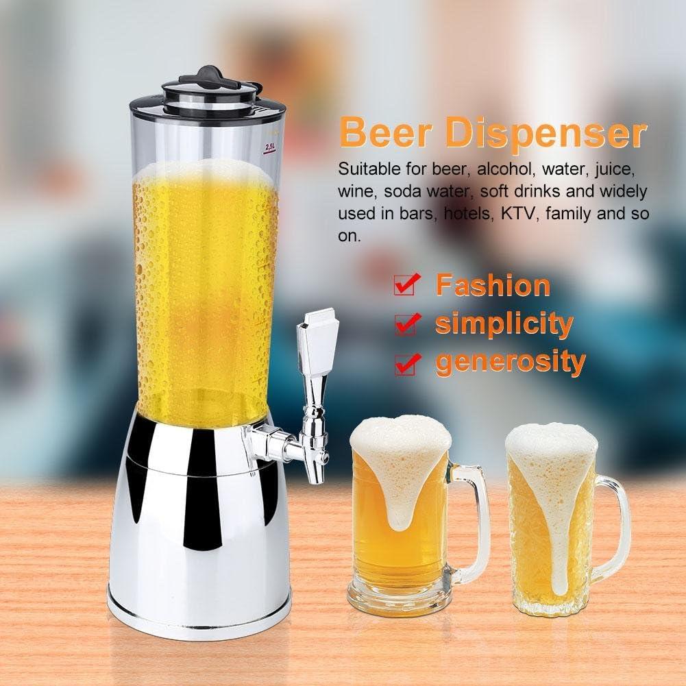 Distributore di birra, 2.5L Portable Beer Tower Distributore di bevande Distributore di bevande Distributore di birra Tubo di ghiaccio per birra, alcool, acqua, succo(nero) Argento