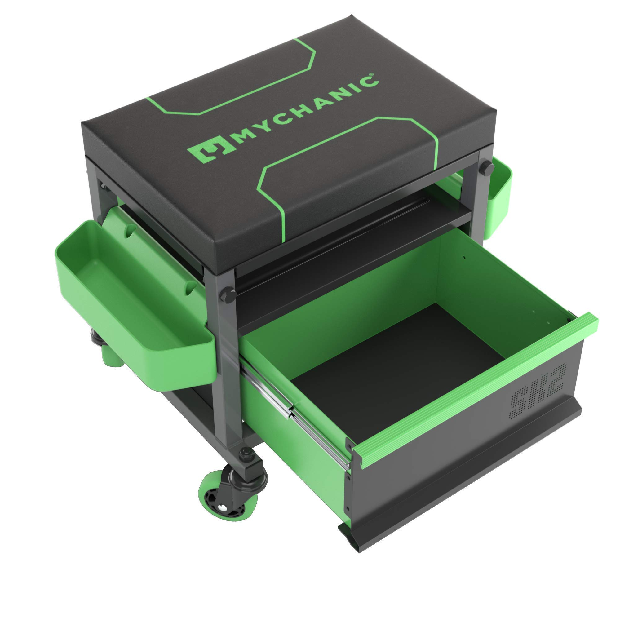 MYCHANIC Sidekick Rolling Mechanic Stool - 500 Lb Capacity Garage Toolbox Stool - Adjustable Height Mechanic Creeper Seat - Large Drawer, 3-Inch Casters and Tool Caddy - Powder Coated Steel Frame by MYCHANIC