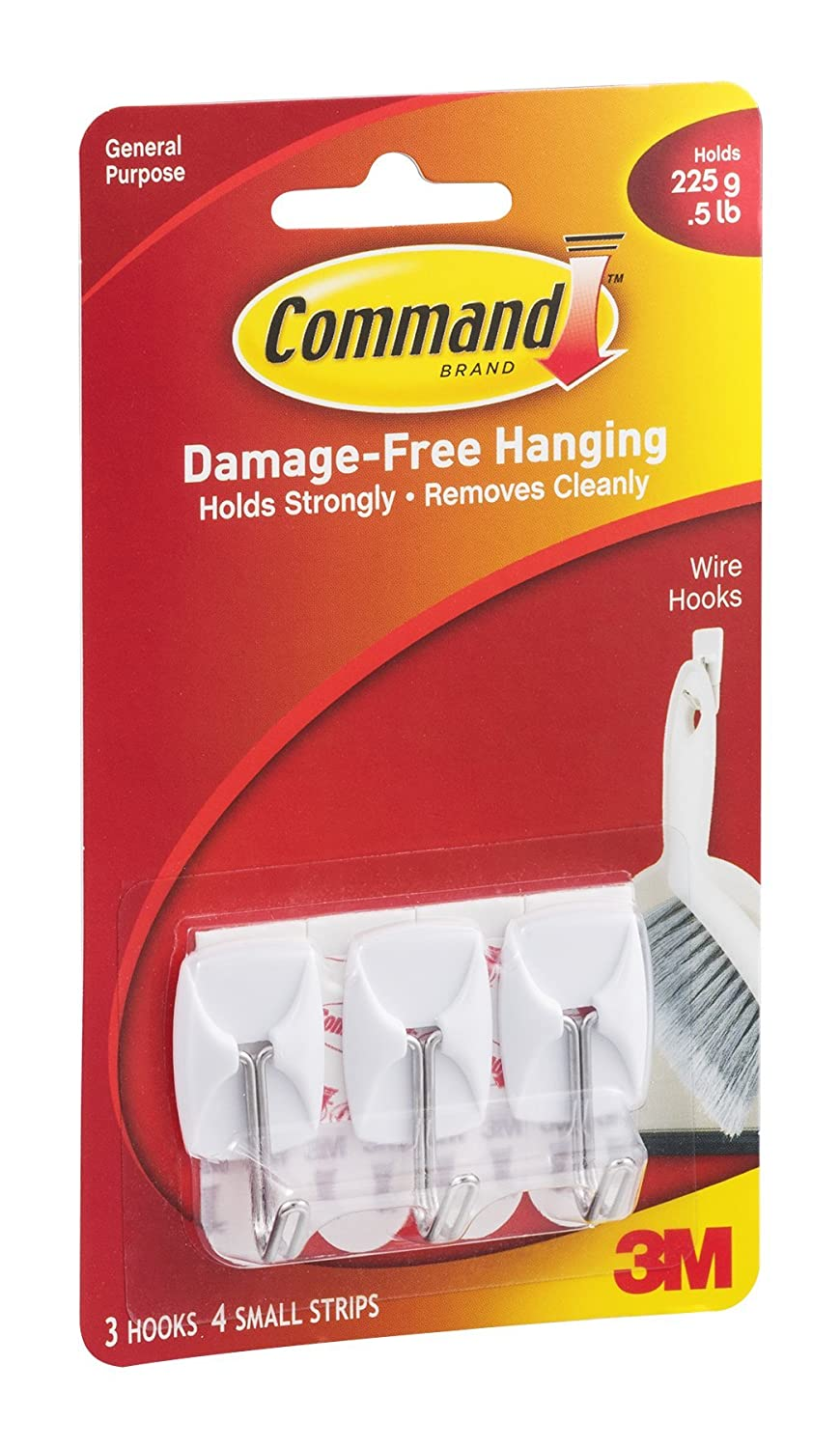 Command 17067ES General Purpose Wire Hooks Small 0.5lb Cap White 3 Hooks 6 Strips per Pack