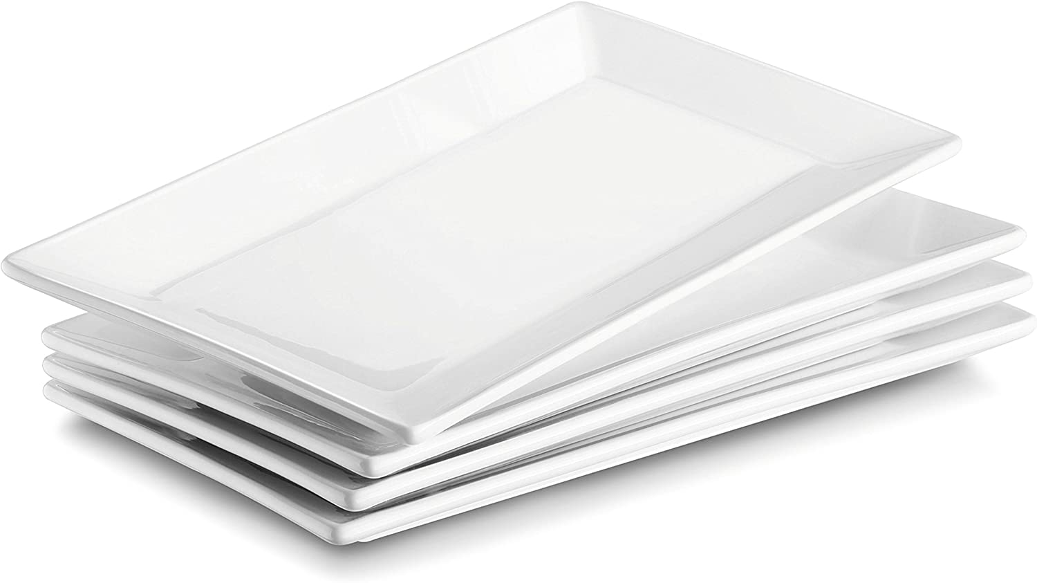 DOWAN Porcelain Rectangle, White Serving Platters, Restaurant Plates for Meat, Appetizers, Dessert, Sushi, Party, Set of 4, 9.7-Inches