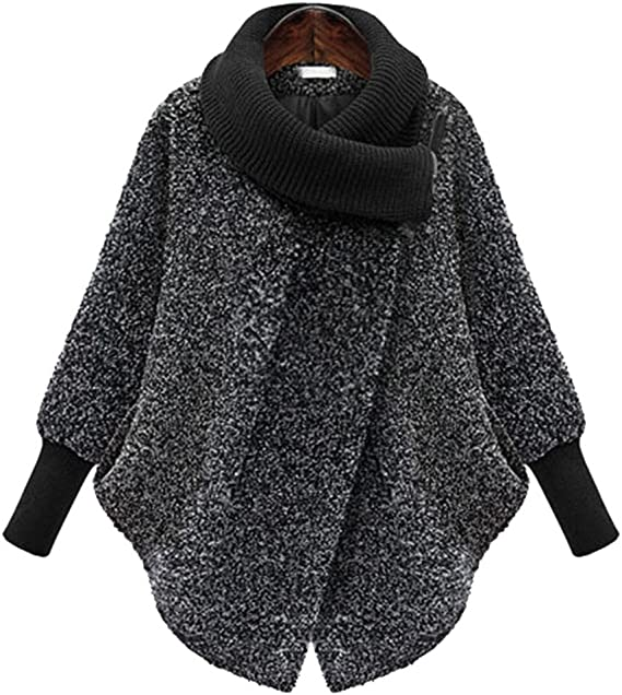 YOUJIA Damen Warme Wintermantel Oversize Batwing Asymmetrisch Winter Poncho Wollmischung Jacke