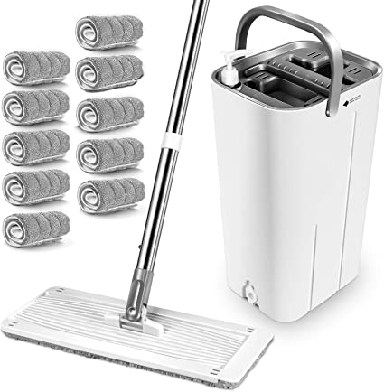 MASTERTOP Mop and Bucket System 10 Reusable Microfiber Mop Pads Hardwood Laminate 360 Flat Mop and Bucket with Wringer Set,Mops for Floor Cleaning Stainless Steel Handle Tiles