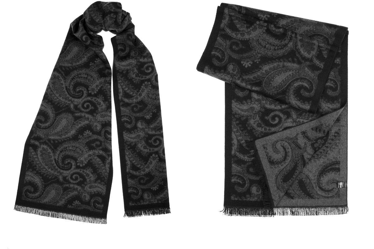 Benson & Brown Men's Winter Fashionable Super Soft 100% Silk Brushed Classic Long Scarf - Black & Grey Paisley