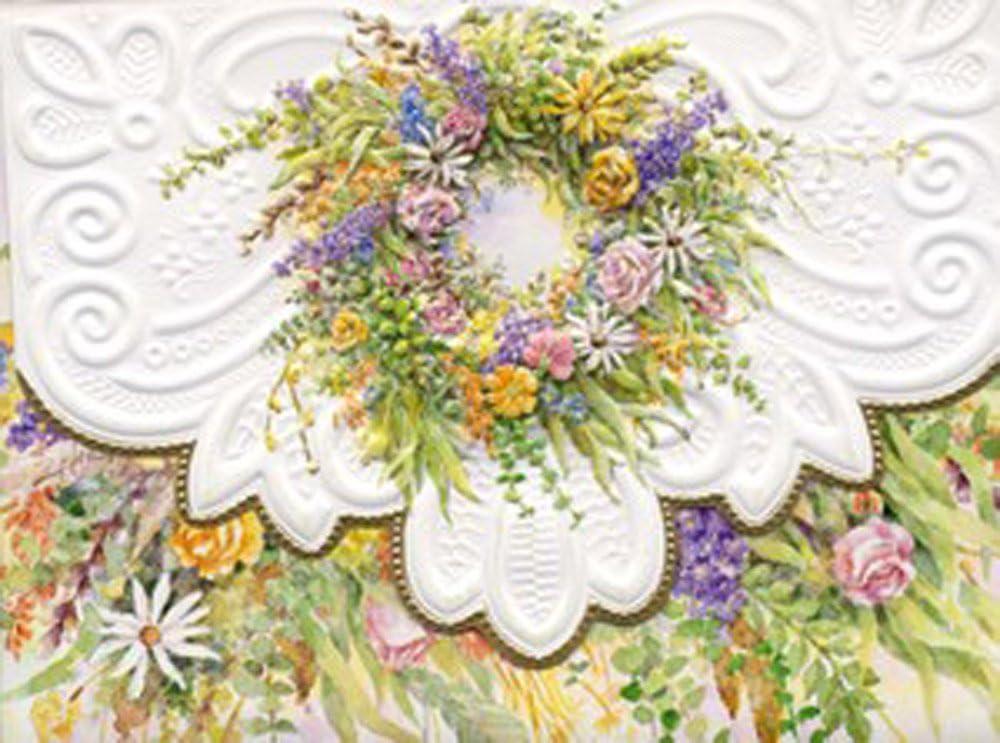 Carol Wilson Fine Arts Rose Garden Wreath Portfolio Blank Card Set, 10-Piece