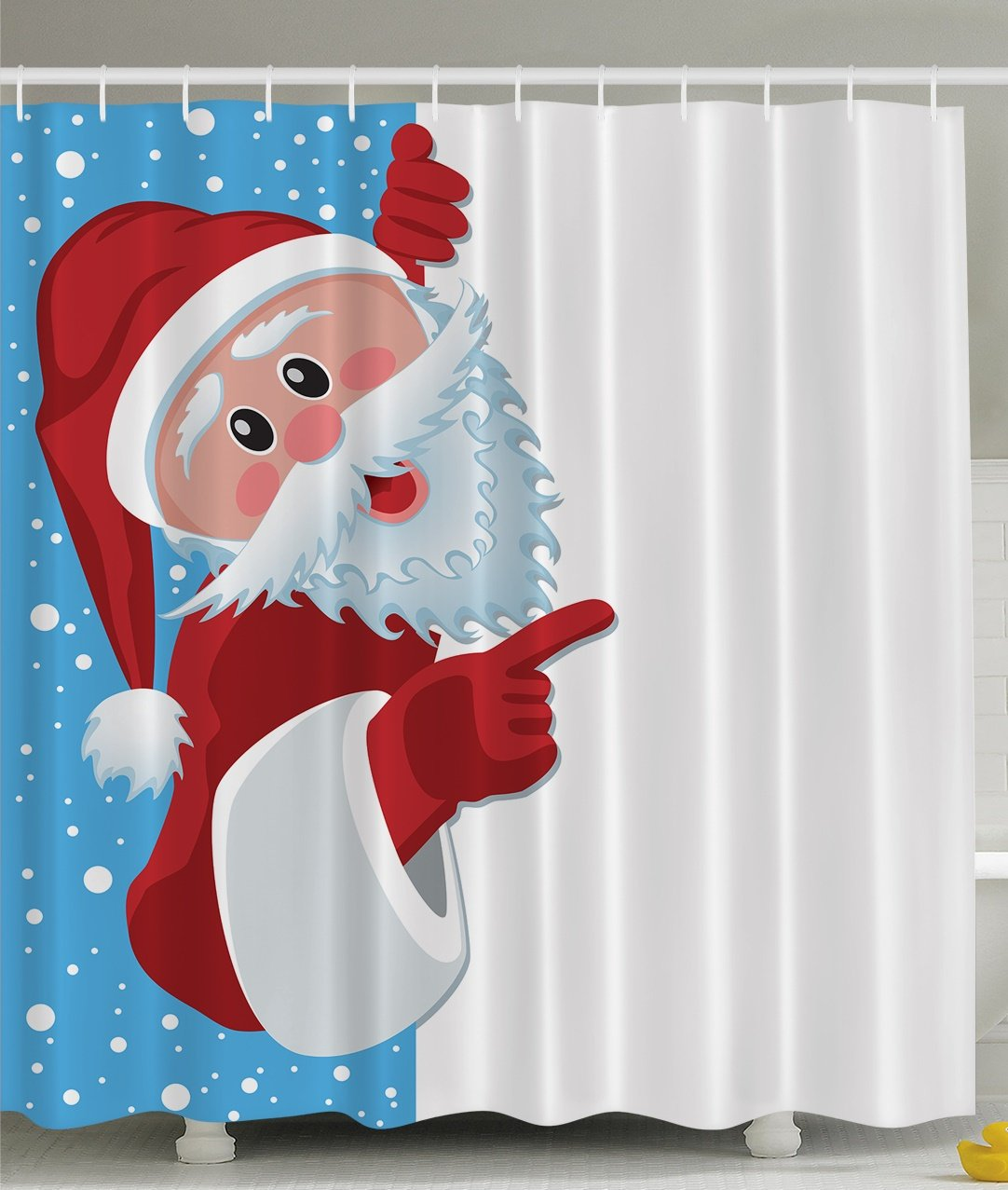 Christmas Santa Claus Holiday New Year Print Polyester Fabric Shower Curtain Blue White Red