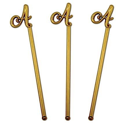 royer 6 wedding monogram letter a swizzle sticksstirrers script