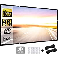 Projection Screen 120 inch 16:9 HD Foldable Anti-Crease Portable Projector Movies Screen for Home Theater Outdoor Indoor Support Double Sided Projection by P-JING