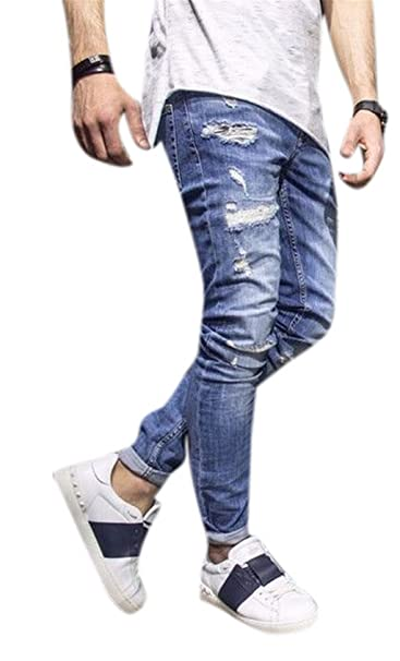 Sarriben Mens Ripped Destroyed Blue Jeans Slim Fit Distressed Holes Denim Pants Trousers