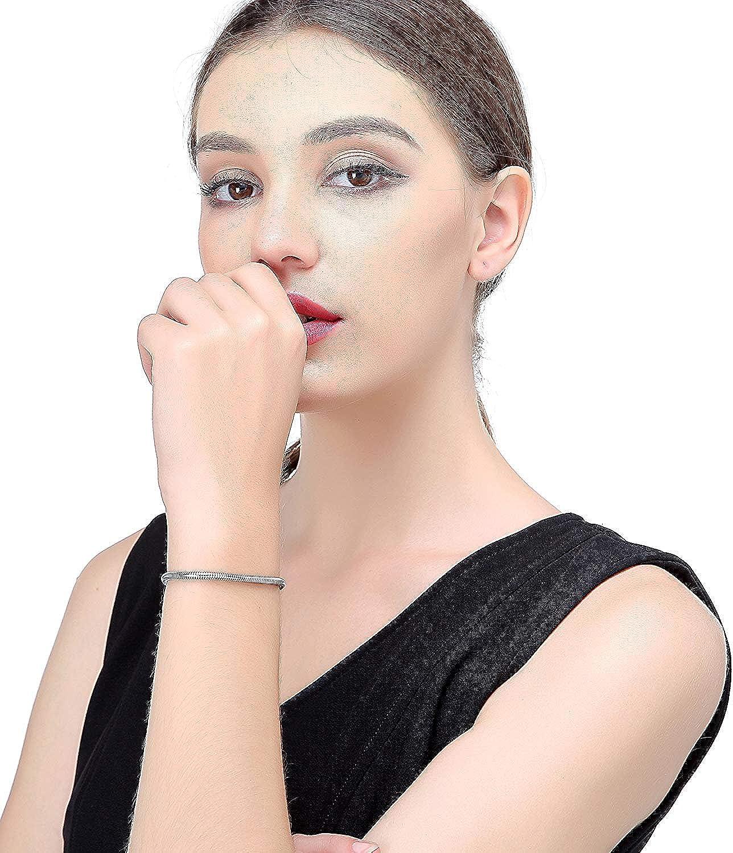 BESTEEL 3mm Acier Inoxydable Bracelet Cha/îne Serpent pour Femmes Hommes Breloques Bracelet Perles Charms Bijoux Fantaisie 16.5-21.5 cm
