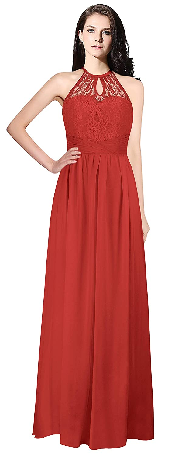 Red MaliaDress Womens Backless Long Halter Bridesmaid Dress Prom Gown M266LF