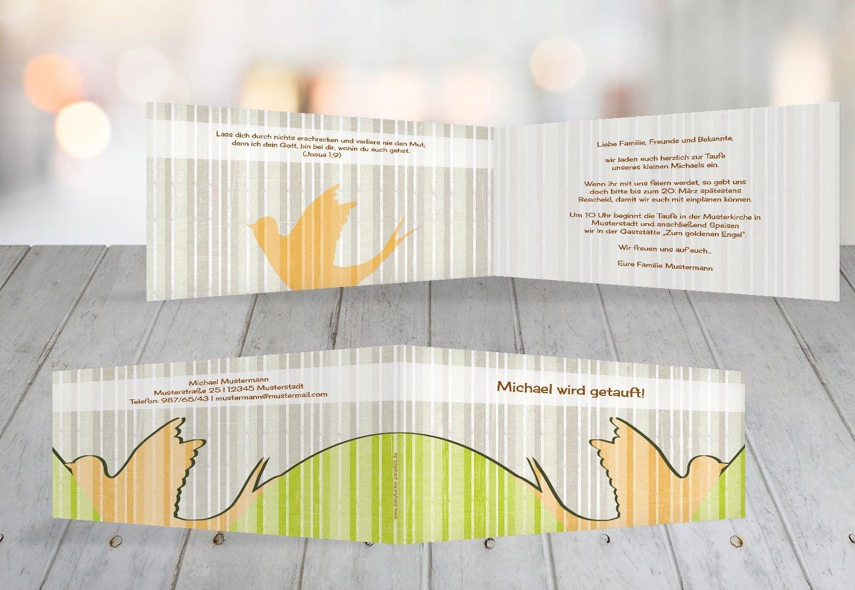 Kartenparadies Einladungskarte Taufeinladung Taufkarte Streifenharmonie, hochwertige Einladung zur Taufe inklusive Umschläge   100 Karten - (Format  215x105 mm) Farbe  OckerBeige B01N5V8NUU | Verrückte Preis  | Zürich Online Shop  | Mama kaufte ein