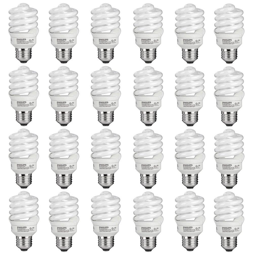 Philips 434399 60 Watt Equivalent Compact Fluorescent Spiral Light Bulb, Daylight, 24 Pack