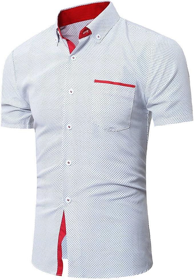 Misaky Mens Dress Shirt Summer Hawaiian Casual Short Sleeve Lapel Breathable Printed Poplin Shirt Blouse