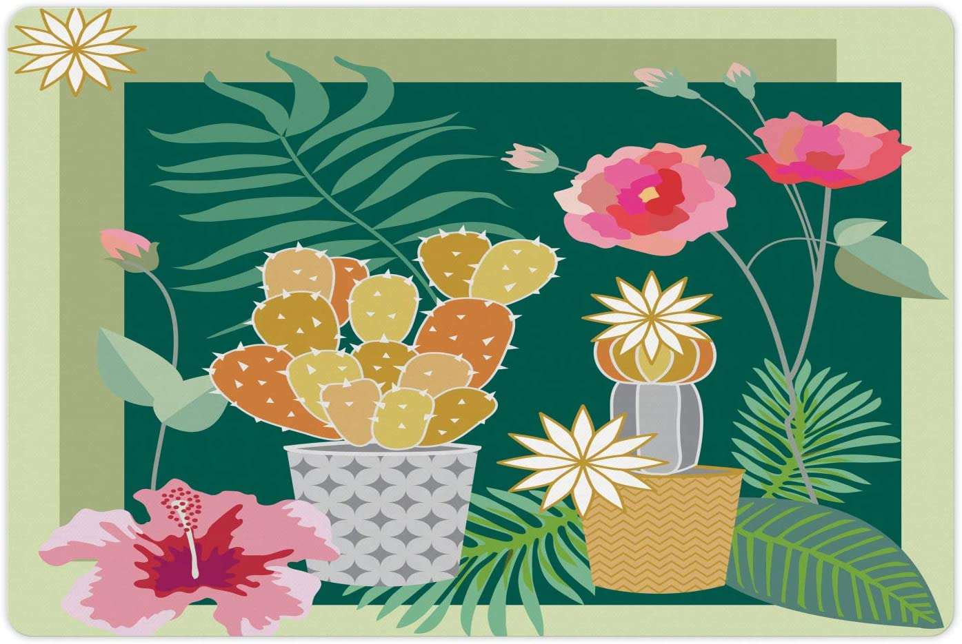 Ambesonne Cactus Pet Mat for Food and Water, Succulent Plants Hibiscus Flowers Palm Monstera Boho Foliage Art, Non-Slip Rubber Mat for Dogs and Cats, 18