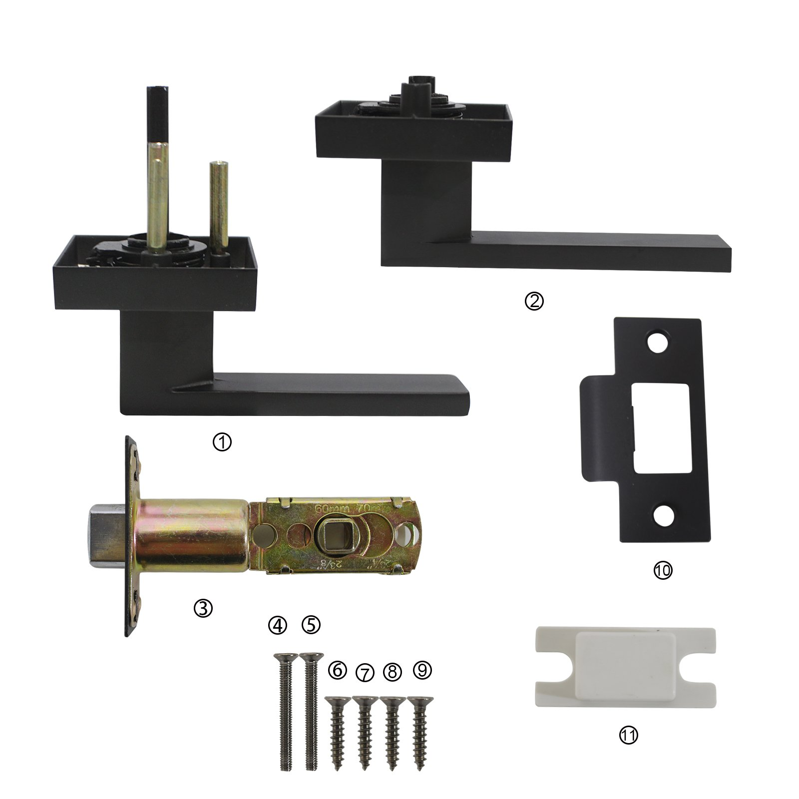 5 Pack Probrico Square Door Lever Door Lock Handle Lockset Keyless Doorknobs Passage Knobs Lockset Interior Hallway Passage Closet DL01-BK-PS in Black by Probrico (Image #2)