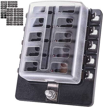 6 Way LED Illuminated Automotive Blade Fuse Holder Box Fuse Block 32V 25A