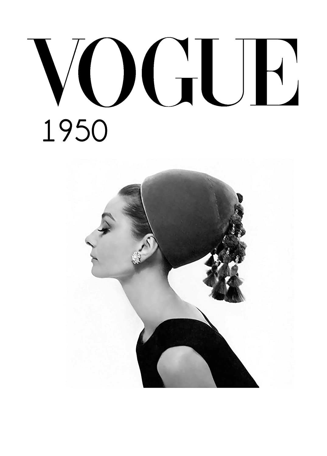 Amazon com aw photograph poster audrey hepburn for vogue in black and white fashion decoration 30 x 40 cm posters prints