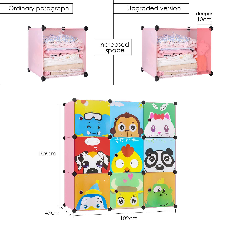 rosa BAMNY Armario Estanter/ía para la Ropa Armario Modular Organizador Infantil con Puertas Perchero para el pasillo para ni/ños con motivos de animales