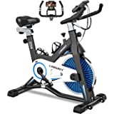 LABGREY Exercise Bike Indoor Cycling Bike Stationary Cycle Bike with Heart Rate Sensor & Comfortable Seat Cushion, Quiet Fitn