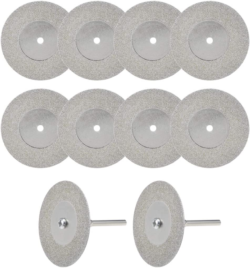 uxcell 10 Pcs 40mm Diamond Cutting Wheels Cut Off Discs with 2 Pcs Mandrels for Rotary Tool