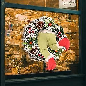 YUESUO Grinch Christmas Wreath, How The Christmas Thief Stole Christmas Burlap Wreath,Strange Creative Christmas Wreaths for Decor Home Decoration (Pine Leaf Wreath and Legs)