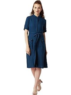 d4ea97d5709 Miss Chase Women s Blue Maxi Denim Shirt Dress  Amazon.in  Clothing ...