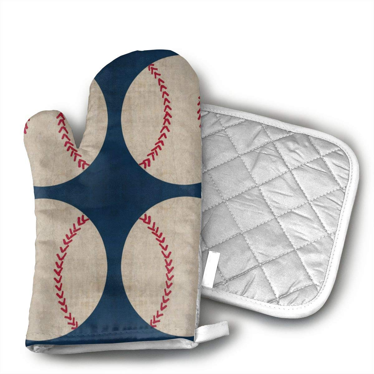 Wiqo9 Baseball Vintage Navy (1683) Oven Mitts and Pot Holders Kitchen Mitten Cooking Gloves,Cooking, Baking, BBQ.