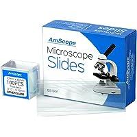 Amscope Lot de 50lames vierges et pré-nettoyées pour microscope avec 100lamelles 22x 22mm