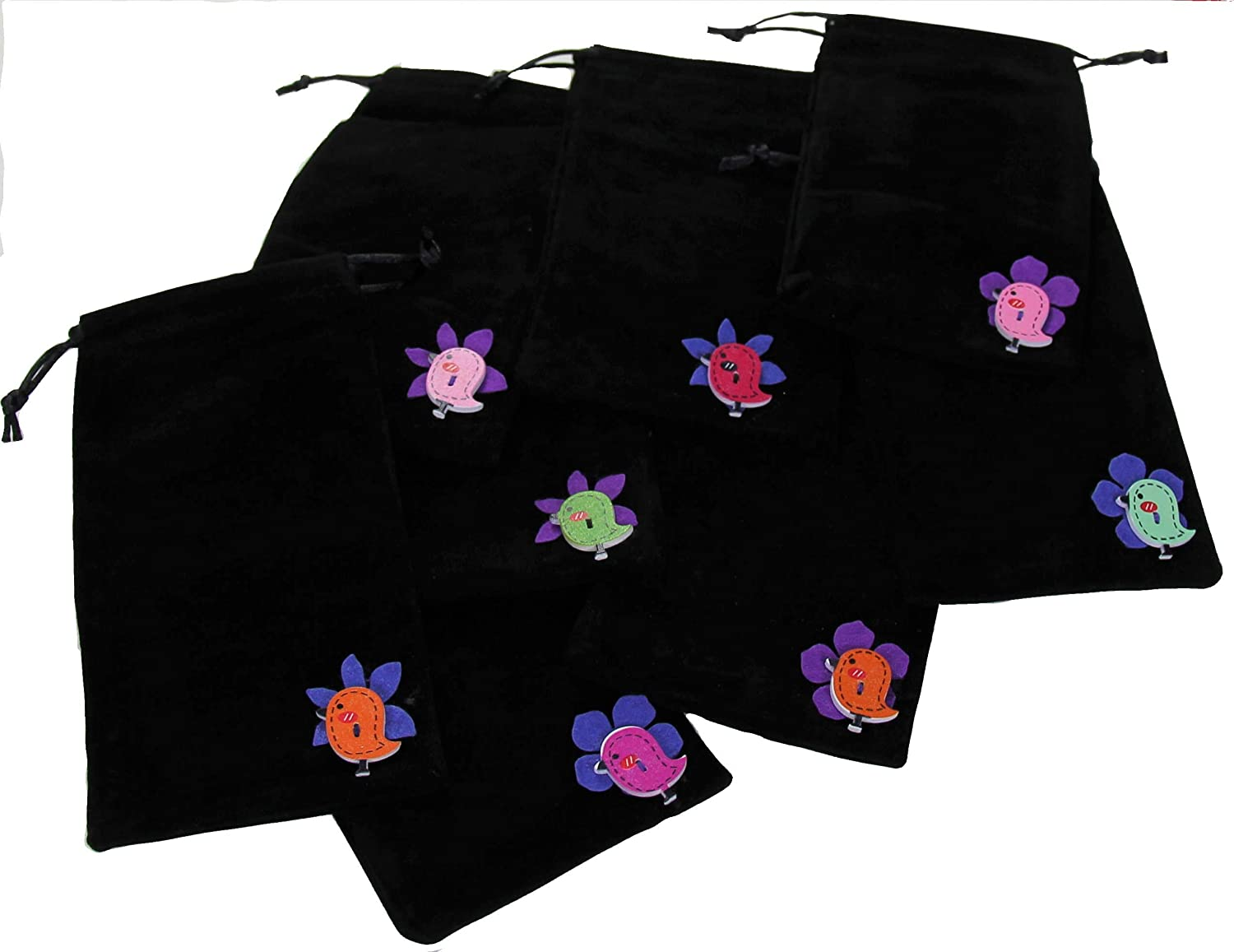 Set of 10 Black Velvet Pouches | Cloth Fabric Drawstring Bags Bulk Cole & Cade