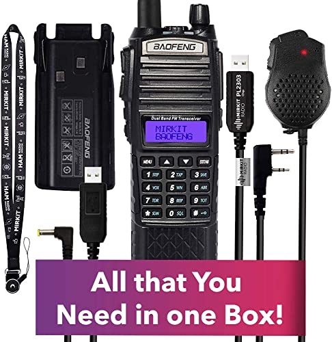 Extended Mirkit Radio Starter Kit UV-82 MK5 8 Watt MP Max Power with 3800 mAh, Handheld Mic, Programming Cable and Software – by Mirkit
