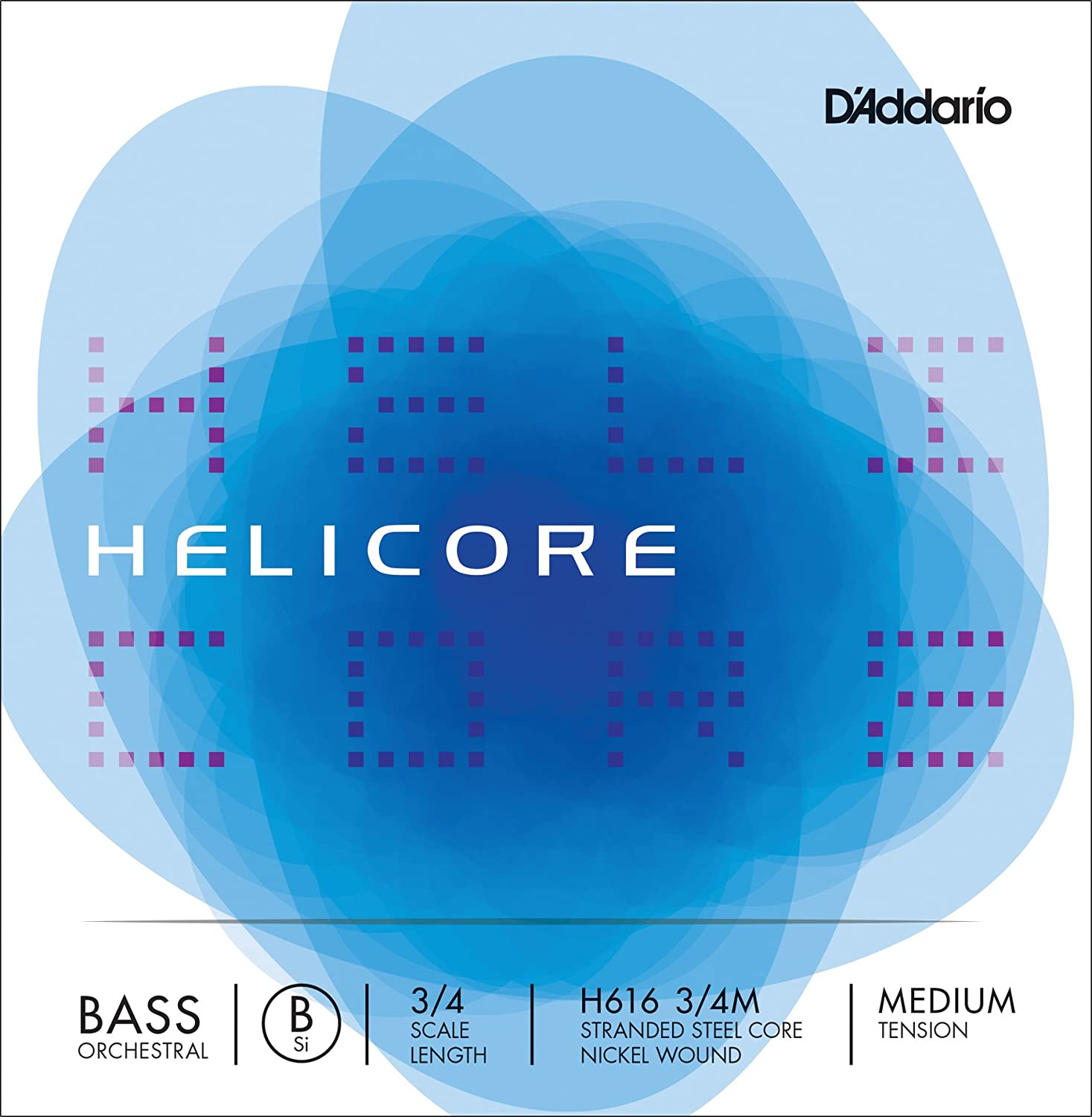 D'Addario Helicore Orchestral Bass Single Low B String, 3/4 Scale, Medium Tension D' Addario H616 3/4M