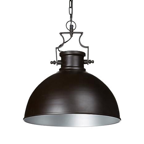 Relaxdays 10019223 Lámpara de Techo, Diseño de Campana, Metal, Marrón, 40,5 x 40,5 cm.