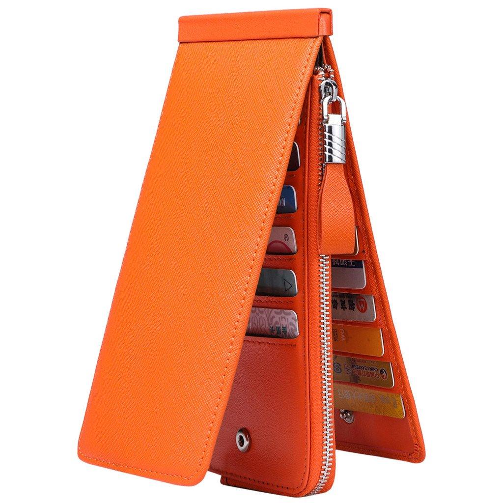 JEEBURYEE Women's Genuine Leather Multi Credit Card Holder Wallet RFID Blocking Long Bifold Clutch Wallet Ladies Purse with Zipper Pocket Orange by JEEBURYEE (Image #2)