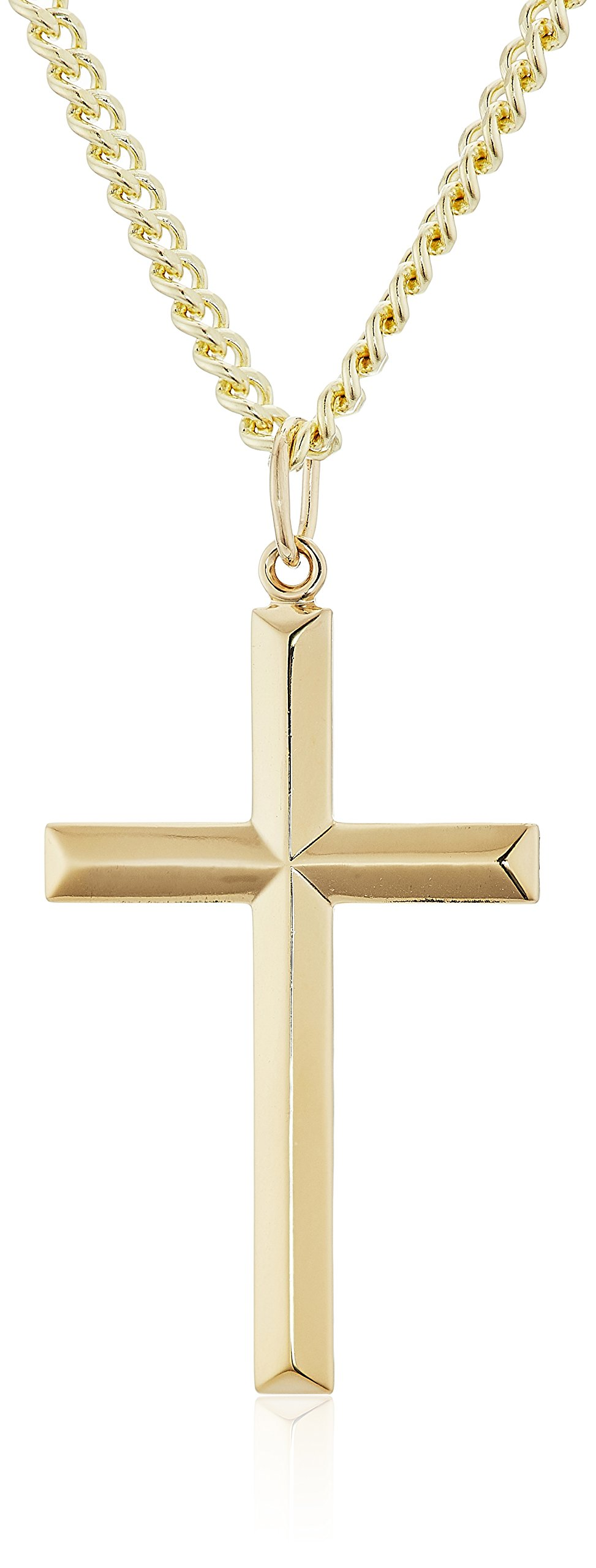 Men's 14k Gold Filled Solid Beveled Edge Embossed Cross with Gold Plated Stainless Steel Chain Pendant Necklace, 24''