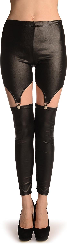 Black Faux Leather Suspender Clip On Leggings L002322