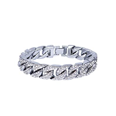 REAMTOP Silver Mens Hip Hop Bracelet Cool Style Iced Out Miami Cuban Link  Chain Gold Silver Plated Shiny Rhinestone Bangle Must-Have Fashion Jewelry  for ... dae072b92bcf