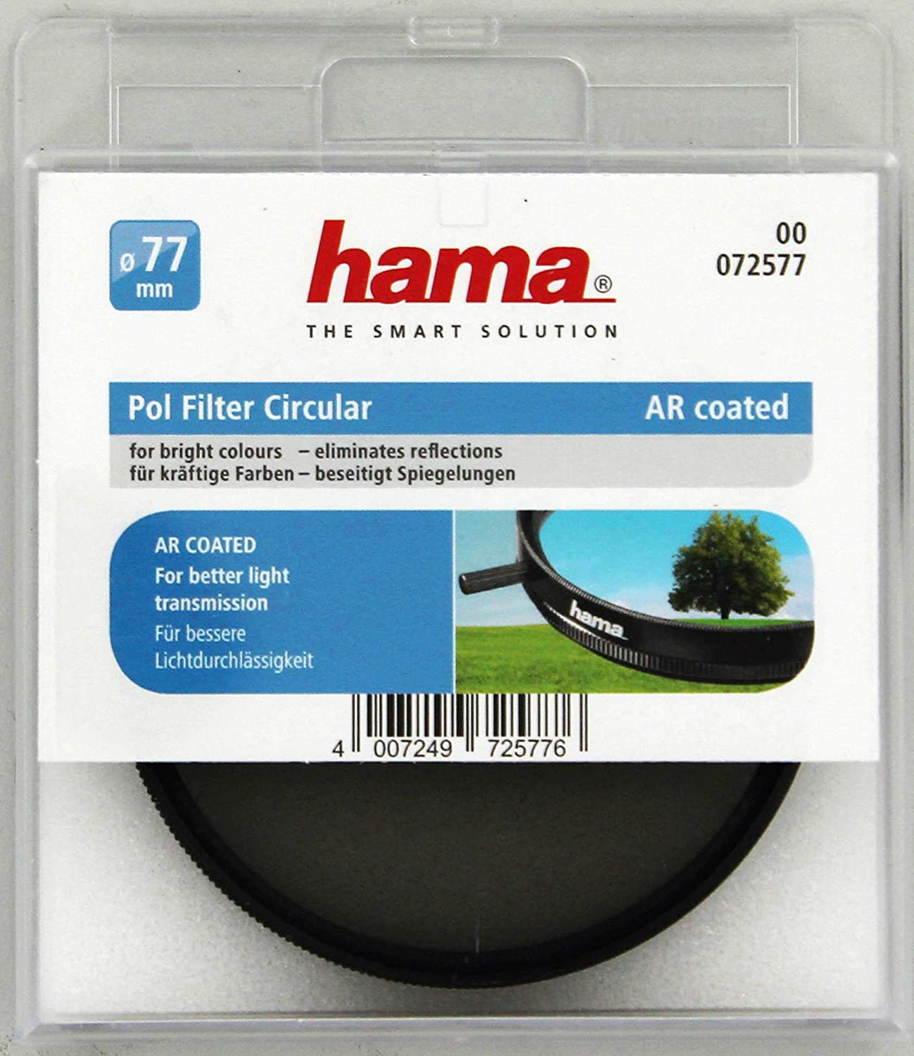 Hama Polarisations-Filter 52mm Pol-Filter C14 coated für DSLR DSLM Kamera Foto