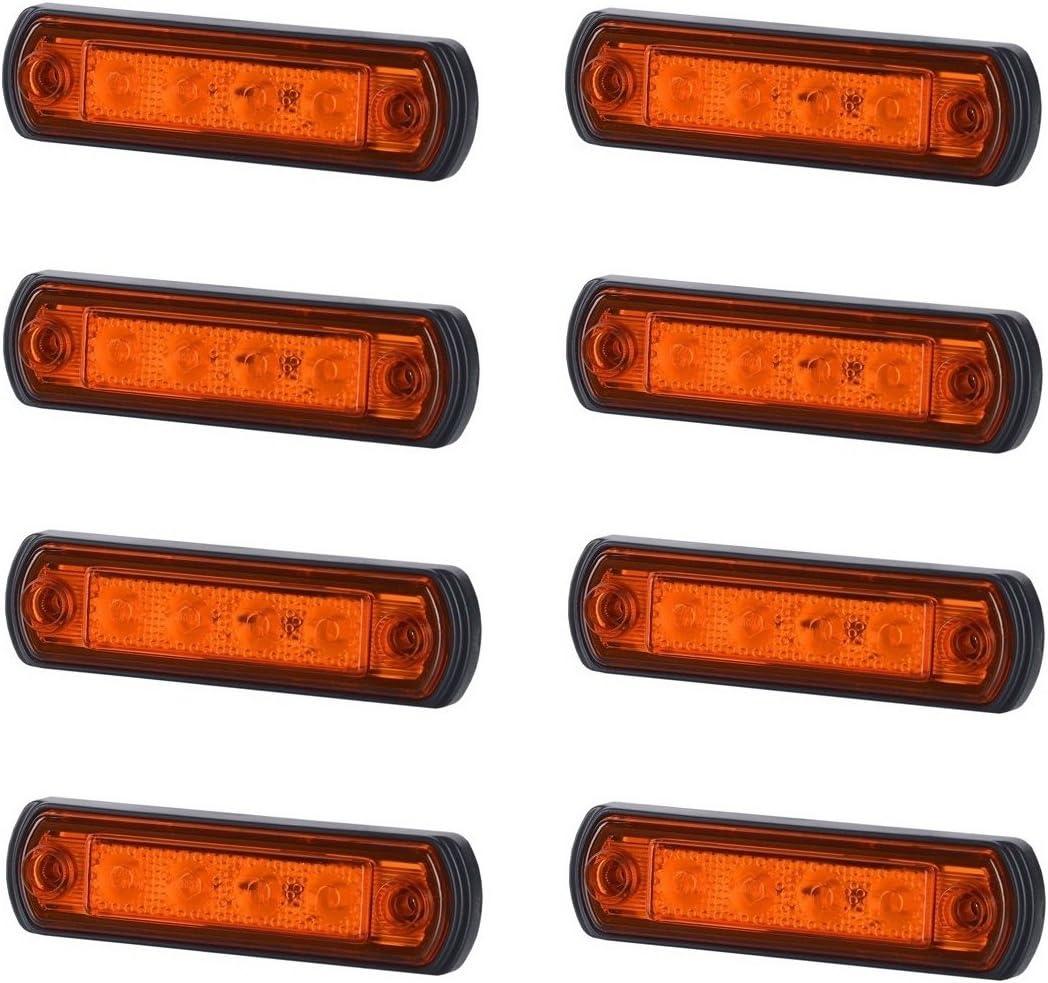 8 X 4 Smd Led Orange Begrenzungsleuchte Seitenleuchte 12v 24v Mit E Prüfzeichen Positionsleuchte Auto Lkw Pkw Kfz Lampe Leuchte Licht Gelb Universal Auto