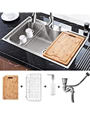 Kitchen Sink 30 inch Stainless Steel top mount Single Bowl with Drain Basket, Liquid Soap Dispenser, Waste Pipe and Cutting Board