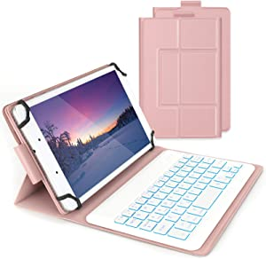Bluetooth Backlit Keyboard Case for 7-8 Inch Samsung Galaxy Tabs/Lenovo Tabs/Android Tablets, Jelly Comb Wireless Detachable Keyboard with Protective Cover for Android/Windows/iOS Tablets, Rose Gold