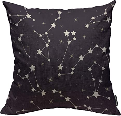 Mugod Stars Throw Pillow Cover Beautiful Cosmic Space Astronomy With Star And Constellations On Night Starry Sky Home Decorative Square Pillow Case For Bedroom Living Room Cushion Cover 18x18 Inch Home